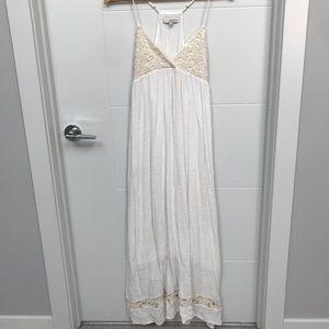 Isabel Lu Cream Linen Crochet Beach Maxi Dress